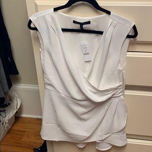 Whbm size 8 NWT white asymmetric wrap tunic